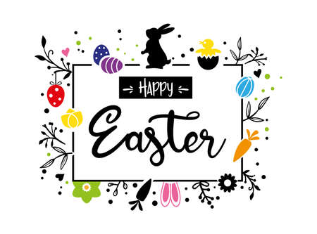 Easter greeting card and banner template with Easter bunny, Easter eggs and flowers on white