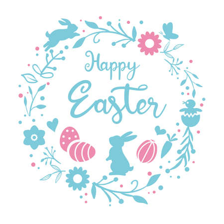 Easter greeting card and banner template with wreath Easter bunny, Easter eggs and flowers on white