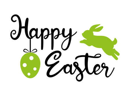 Easter banner template with Easter bunny, Easter eggs and calligraphic text on white