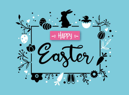 Easter greeting card and banner template with Easter bunny, Easter eggs and flowers on light blue
