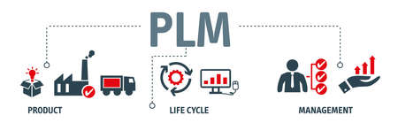 PLM vector illustration concept. In industry, product lifecycle management is the process of managing the entire lifecycle of a product from inception, through engineering design and manufacture, to service and disposal of manufactured products