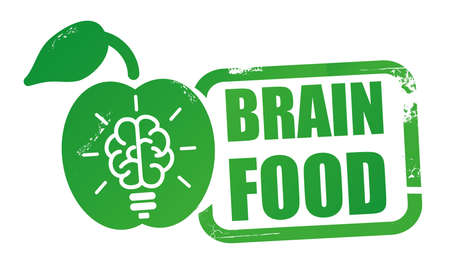 Brain Food Grunge rubber stamp on white background. Design element Vector illustration concept Stock Illustratie