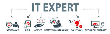 Banner of IT expert concept. IT Expert, Information Technology Advice or Services. Vector illustration