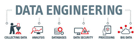 Banner Data engineering vector illustration concept - Data engineering is primarily about collecting or generating data, storing, historicalizing, processing, adapting and submitting data to subsequent instances Stock Illustratie