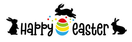 Easter banner template with Easter bunny and Easter Eggs on white background. Greetings and presents for Easter Day Stock Illustratie