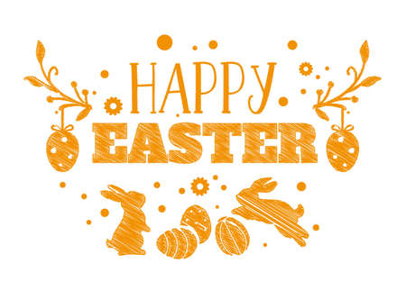 Easter greeting card template with Easter eggs and easter bunny vector illustration