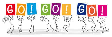 Stick figures holding the word GO GO GO. Stock Illustratie