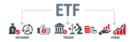 Banner ETF Concept. ETFs Exchange Traded Funds Stock Market Investment icons