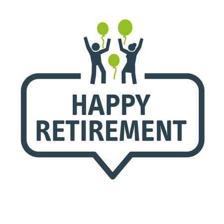 Happy Retirement banner, speech bubble Stock Illustratie