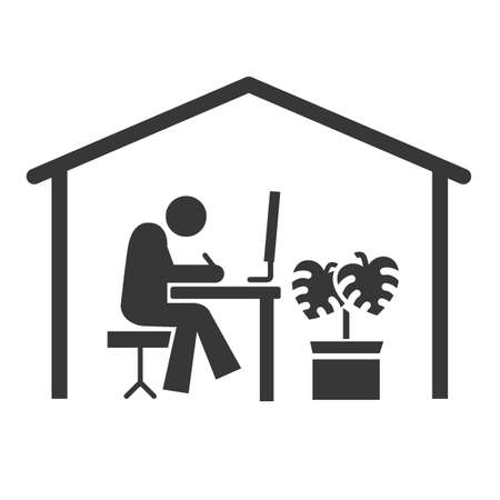 Remote work and telecommuting icon. Stock Illustratie