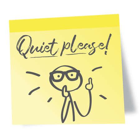 Post note paper sheet with the inscription quiet please! Vektorgrafik