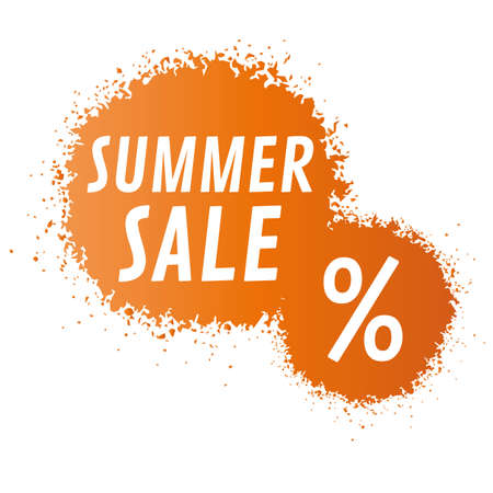 Summer Sale Banner - orange spotted graffiti label Stock Illustratie