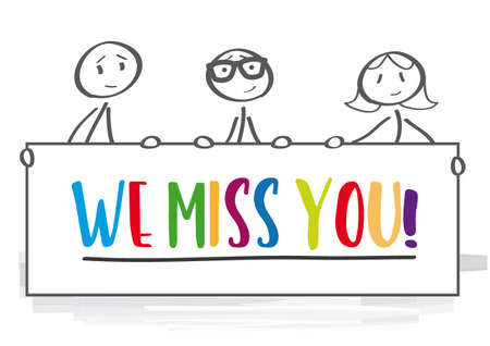 People Holding poster with colorful text We Miss You Stock Illustratie