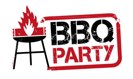 red grunge stamp BBQ Party with Grill - Barbecue party vector stamp or banner design template - vector illustration concept Stock Illustratie