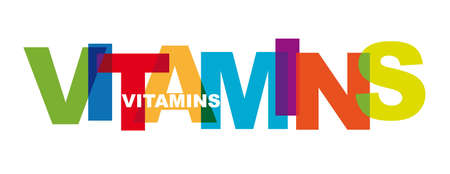 Vitamins - Banner with colorful letters - typographic vector illustration concept