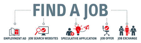 Banner find a job vector illustration concept with keywords and icons