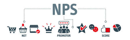 NPS - NET PROMOTOR SCORE concept. Banner with keywords and icons