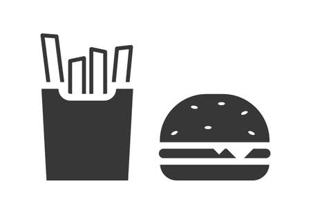 Burger and fries icon vector graphic for print and web isolated on white background Stock Illustratie