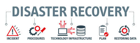 disaster recovery concept. Banner with keywords and icons. Disaster recovery involves a set of policies, tools and procedures to enable the recovery or continuation of vital technology infrastructure and systems following a natural or human-induced disaster. Stock Illustratie