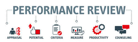 Banner Performance review vector illustration concept - A performance review is a method by which the job performance of an employee is documented and evaluated