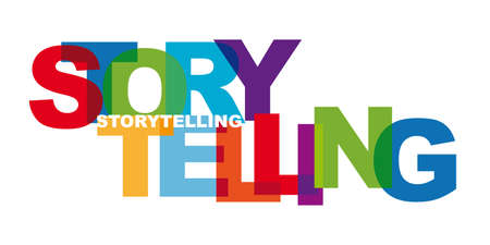 Storytelling - Banner with colorful letters Ilustración de vector