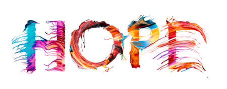 Hope - calligraphic inscription with colorful letter