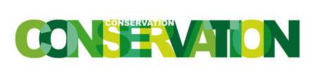 conservation - Vector illustration letters banner, greenly badge illustration on white background
