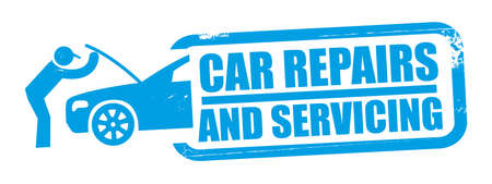 Car repairs and servicing Grunge blue rubber stamp - Vector Illustration Concept with Text and Symbol Stock Illustratie