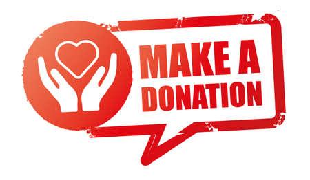 grunge vintage make a donation sign. Donate stamp. sticker. seal. vector illustration