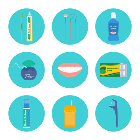 checkup: Dental hygiene and tooth health care icon set: brush and toothpaste, dental check-up tools, mouthwash, floss, mouth, gum, breath freshener, toothpicks, floss with a handle. Illustration