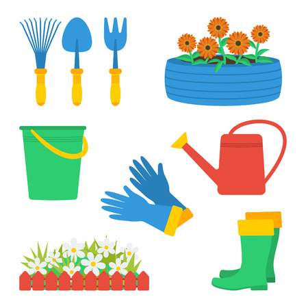 Set of garden elements. Garden gloves, garden boots, watering can, fence and flowers, tire with flowers, garden tools (hand fork, hand cultivator, hand trowel), bucket