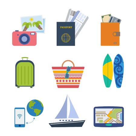travel guide: Summer icon set. Travel and vacation elements: tickets, passport, money, travel bag, beach bag, surfboard,  travel guide and others Illustration