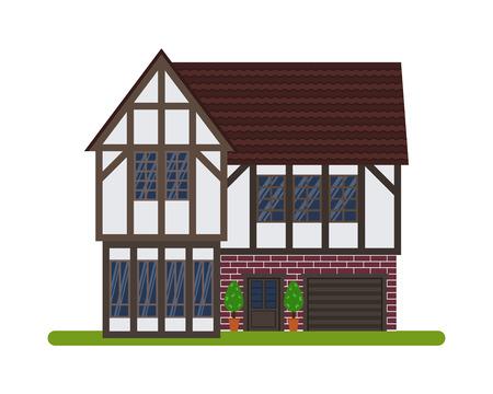 Tudor-stijl of Engels huis, Vector illustratie van een toeristische huis te huur, verkoop, het boeken en wonen, op een witte achtergrond.