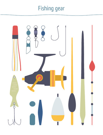 swivel: Set of fishing equipment. Fishing gear clipart made in vector