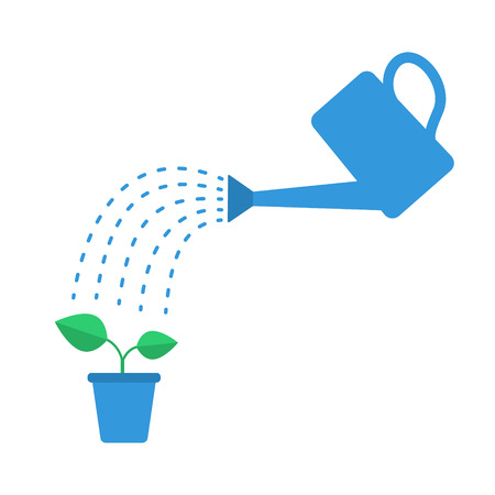 Watering plant with watering can. Flat vector illustration Illustration