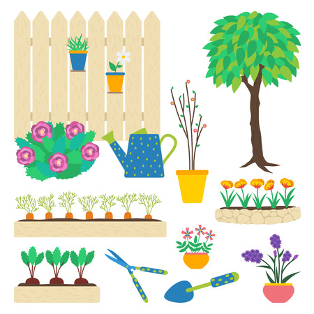 Vector set of garden elements. Flowers in pots, flowerbed, tree, vegetable patch, beetroot, carrot, garden tools, trowel, hedge shears, peony bush, watering can, seedling