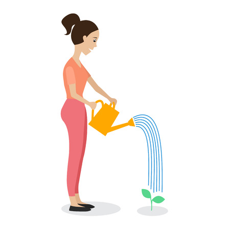 plant stand: Woman watering a plant using a watering can. Flat style vector illustration.