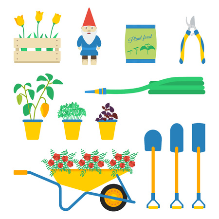 ditch: Vector illustration of garden elements: lug-box with tulips, dwarf, plant food, secateur, pepper, parsley, basil, hose, wheelbarrow, flowers, round shovel, drain spade, ditch or post spade