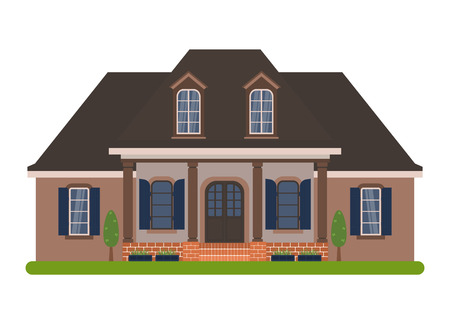 dormer: Modern country house in Acadian style. Vector illustration of a tourist house for rent, sale, booking and living, isolated on white background. Illustration