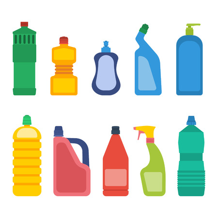 dishwashing liquid: Set of bottles for household chemicals and cleaning supplies.