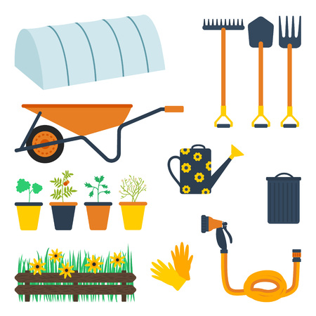 Garden tool set. Vector illustration of gardening equipmet and elements: hot house, rake, spade, pitchfork, wheelbarrow, plants in the pots, watering can, bin and lid, fence, grass, flowers, garden gloves, hose with a sprinkler