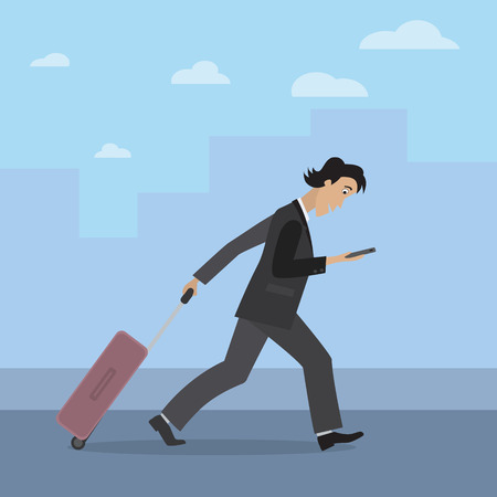 business trip: Businessman travelling. Busy man is walking with a travel bag and looking at his smartphone. Man going on a business trip.