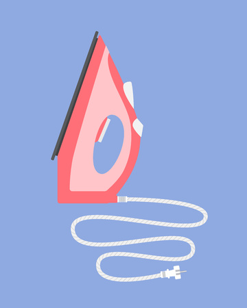 ironing: Standing iron with a cord. Flat vector illustration Illustration