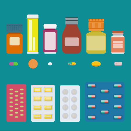 blister package: Set of bottles of pills, isolated capsules and tablets, and pills in blister package. Vector elements for pharmaceutical and medical illustrations, banners, infographics, web sites.
