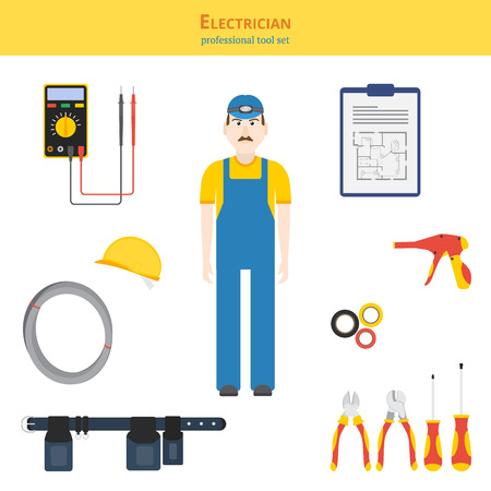 tool belt: Professional tool set vector illustration. Electrician and electrical hand tools (screwdrivers, cutters, cable tie gun), multimeter, electrical tape, work belt, helmet, cable, blueprint. Illustration
