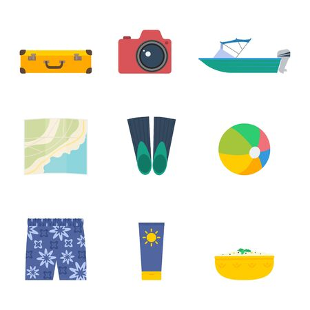 Summer trip vector set: travel suitcase, photo camera, motorboat, map, beachball, sunscreen, traditional food