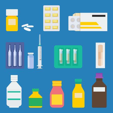 blister package: Set of pharmaceutical products: bottle of pills, lozenge in blister, pills in paper package, ampuls, drops, medical syringe, pack of essential oils, plaster, glass, plastic bottles, sirup. Illustration