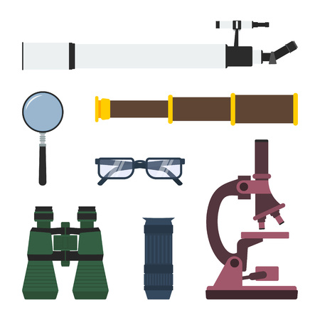 handglass: Vector set of magnifying and research equipment: telescope, magnifier, pirate spyglass, glasses, binoculars, monocular, microscope.