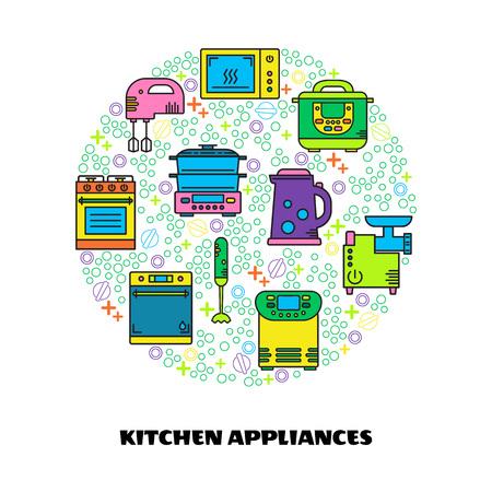 Modern vector illustration of different kitchen items: microwave, mixer, cooker, blender, steamer, kettle, bread maker, mincing machine. Illustration