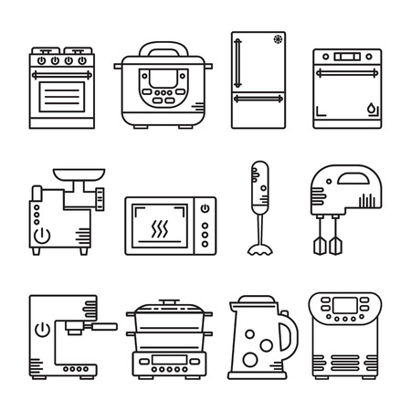bread maker: Vector set of kitchen equipment: cooker, multicooker, fridge, dishwasher, mincing machine, microwave, blender, mixer, coffeemaker, steamer, kettle, bread maker. Illustration